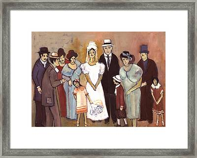 Naive Wedding Large Family White Bride Black Groom Red Women Girls Brown Men With Hats And Flowers Framed Print