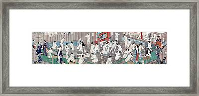 Naked Bodies Framed Print by Toyohara Kunichika