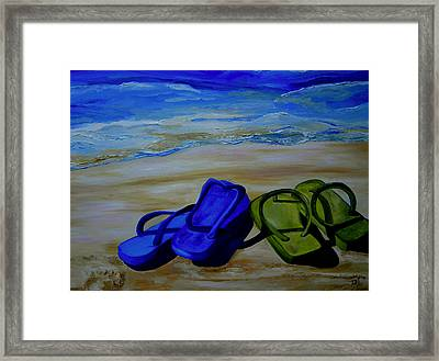Naked Feet On The Beach Framed Print