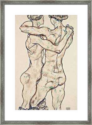 Naked Girls Embracing Framed Print by Egon Schiele