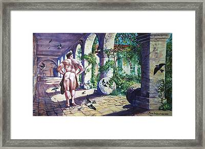 Naked In The Cloisters Framed Print