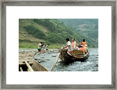 Naked Tracker Boatman Pulling Tourists Framed Print by Charles  Ridgway