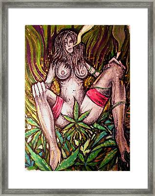 Naked With Green And A Hit Of Pink Framed Print by Sam Hane