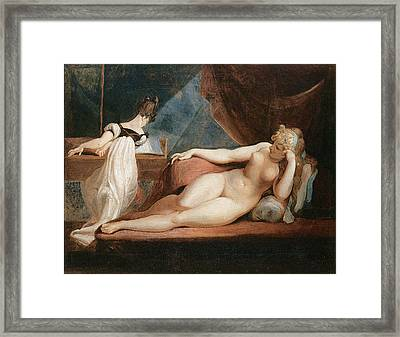 Naked Woman And Woman Playing The Piano Framed Print by Johann Heinrich Fussli