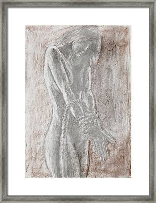 Naked Woman Tied With Rope Framed Print by Dan Comaniciu