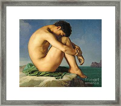 Naked Young Man Sitting By The Sea, 1836 Framed Print