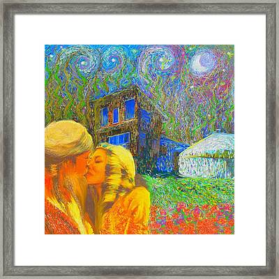 Framed Print featuring the painting Nalnee And James by Hidden Mountain