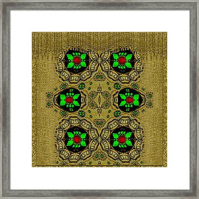 Namaste Gold And Florals In Popart Framed Print by Pepita Selles
