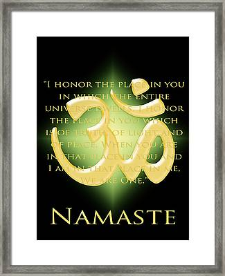 Namaste On Black Framed Print by Heidi Hermes
