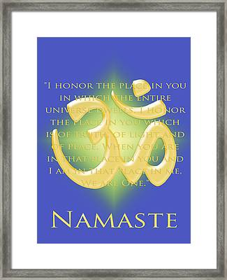 Namaste On Blue Framed Print by Heidi Hermes
