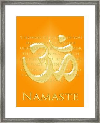 Namaste On Gold Framed Print by Heidi Hermes