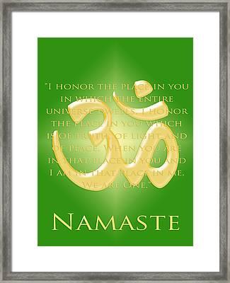 Namaste On Green Framed Print by Heidi Hermes