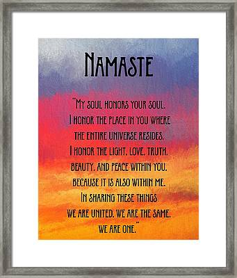 Namaste Sunset Sky Framed Print by Terry DeLuco