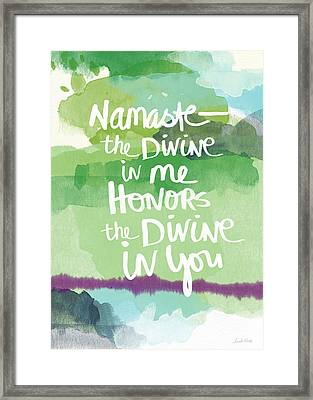 Namaste- Watercolor Card Framed Print by Linda Woods