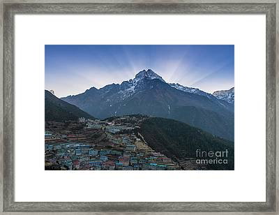 Framed Print featuring the photograph Namche And Thamserku Peak Morning Sunrays by Mike Reid