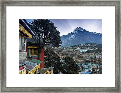 Framed Print featuring the photograph Namche Monastery Morning Sunrays by Mike Reid