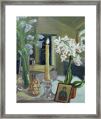Nameday Table Framed Print by Laura Wilson