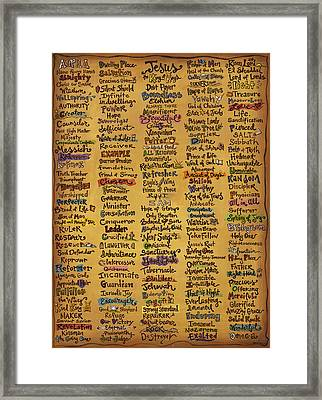 Names Of God - Inspirational Scripture Painting Framed Print by Annie Laurie