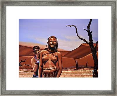 Himba Girls Of Namibia Framed Print by Paul Meijering