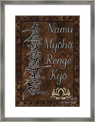 Framed Print featuring the mixed media Namu Myoho Renge Kyo by Lita Kelley