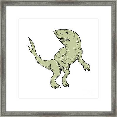 Nanaue Fighting Stance Drawing Framed Print