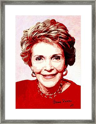 Nancy Reagan Portrait Framed Print by Linda Mears