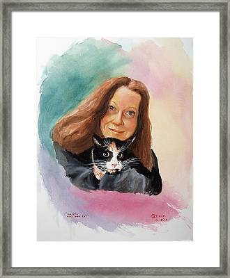 Nandi And Her Cat Framed Print by Charles Hetenyi