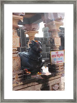 Nandi Guarding The Temple, Near Satara Framed Print by Jennifer Mazzucco