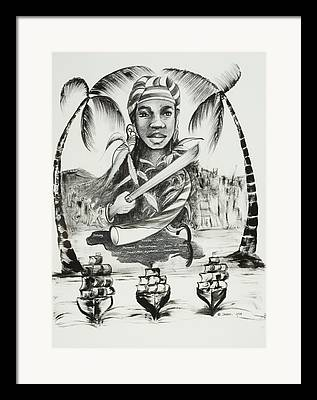 African American ist Drawings Framed Prints