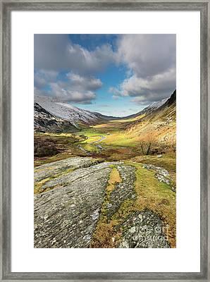 Nant Ffrancon Valley In Snowdonia Framed Print by Adrian Evans