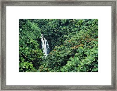 Nanue Falls Hawaii Framed Print by Greg Vaughn