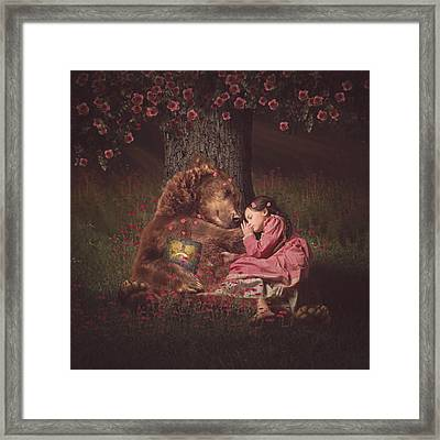 Nap Time With Papa Bear Framed Print by Kristen Marie