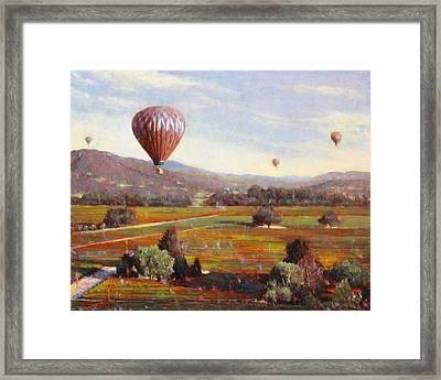 Napa Balloon Autumn Ride Framed Print by Takayuki Harada