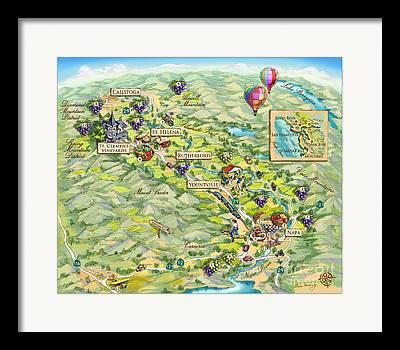 Napa Valley Vineyard Drawings Framed Prints
