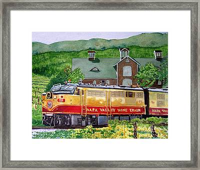 Framed Print featuring the painting Napa Wine Train by Gail Chandler