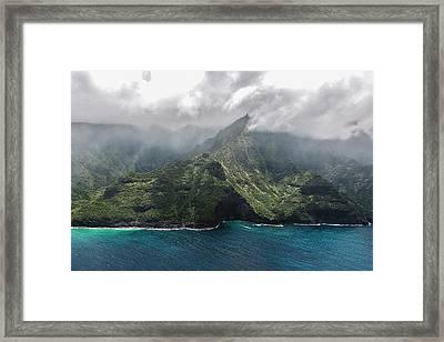 Napali Coast In Clouds And Fog Framed Print