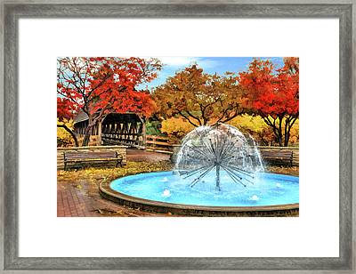 Framed Print featuring the painting Naperville Dandelion Fountain by Christopher Arndt