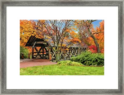 Framed Print featuring the painting Naperville Riverwalk Covered Bridge by Christopher Arndt