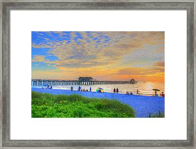 Framed Print featuring the digital art Naples Beach by Sharon Batdorf