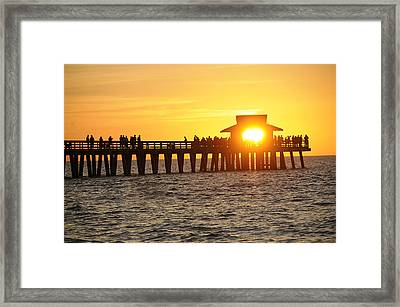 Naples Florida Sunset Pier Framed Print by Keith Lovejoy