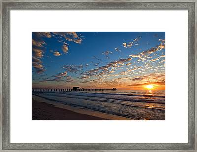 Naples Pier Days End. Framed Print by Nick  Shirghio