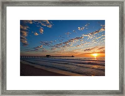 Naples Pier Days End. Framed Print
