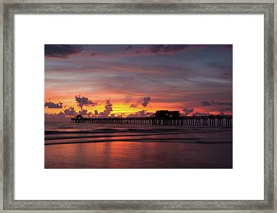 Naples Pier Silhouette  Framed Print by Nick  Shirghio