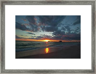 Naples Pier Sunset  Framed Print by Nick  Shirghio