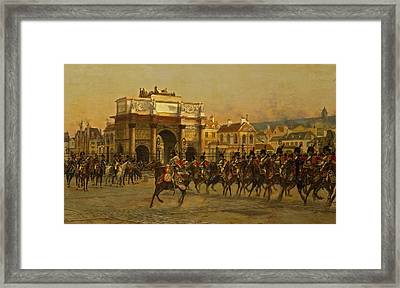 Napoleon And His Staff Reviewing The Mounted Chasseurs Framed Print