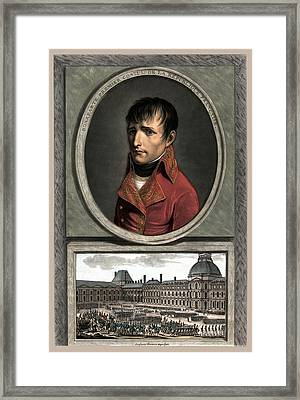 Napoleon Bonaparte And Troop Review Framed Print