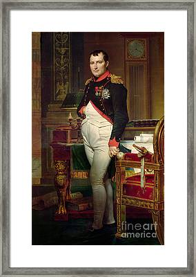 Napoleon Bonaparte In His Study At The Tuileries, 1812 Framed Print by Jacques Louis David