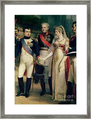 Napoleon Bonaparte Receiving Queen Louisa Of Prussia Framed Print by Nicolas Louis Francois Gosse