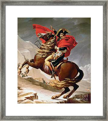 Napoleon Crossing The Alps Framed Print by Jacques Louis David