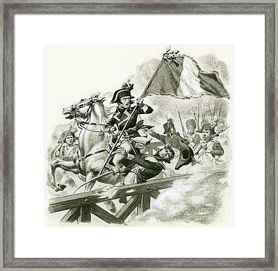 Napoleon Leading His Army Across The Bridge At Lodi Framed Print by Pat Nicolle